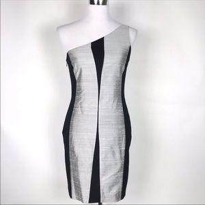 NWT rag & bone black and silver one shoulder dress